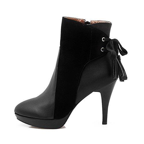 AgooLar Damen Rein Reißverschluss Niedrig-Spitze Blend-Materialien Stiletto Stiefel, Weinrot, 37