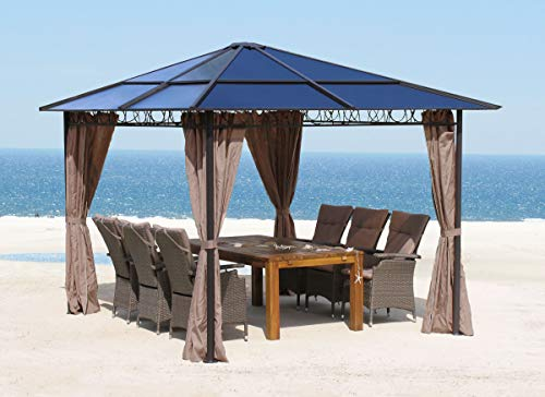QUICK STAR Metall Garten Hardtop Pavillon 3x3m Doppelstegplatten Polycarbonat Dach Partyzelt Pergola mit 4 Seitenteilen
