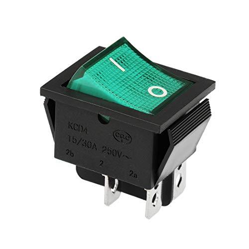 sourcing map Wippschalter Neongrüner Shell Kippschalter AC 250V 15A / 30A Gelb - 30a Kippschalter