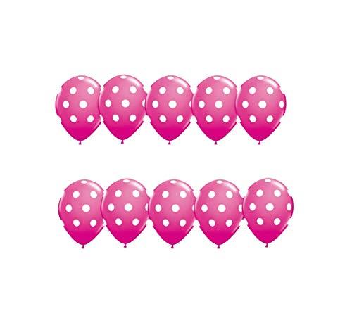 RepairMedia-Shop ★ 10x Luftballon mit weiße Schwarze Punkte für Party Dekoration Ballons Helium Gas Ballon Muster Motto in Allen Farben ★RM★ (Dunkel Rosa) (Schwarz Und Rosa Ballon-dekorationen)