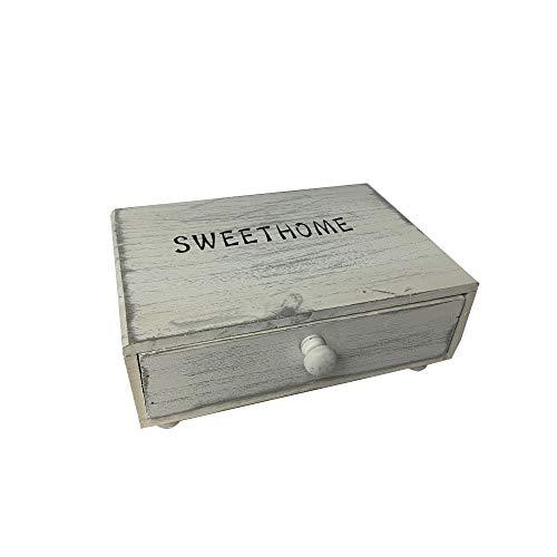 Cassetto vintage legno portacapsule cialde oggetti caffe zucchero ufficio casa fair (bianco)