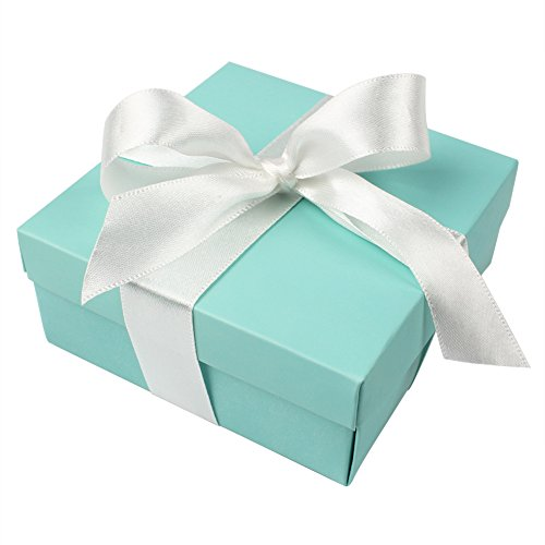 AerWo 50pcs Party Wedding Favors Bag + 50pcs Silk Ribbon, Mini Large Square Turquoise Candy Box with Lids for Wedding Supply, Birthdays, Bridal and Baby Showers (Aqua Blue) (Pattern Paper Bag)