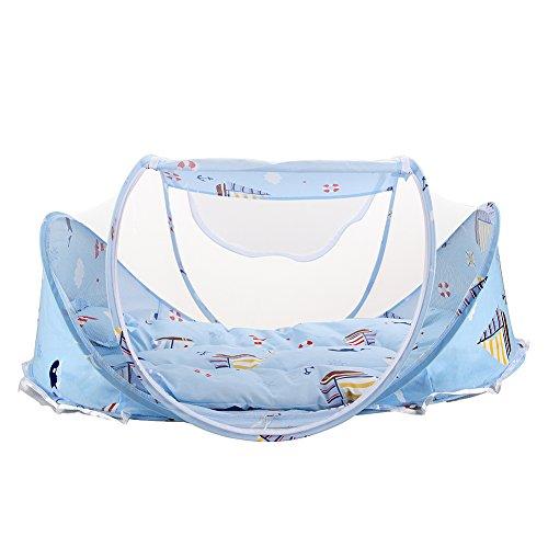 Reisebett Travel Cot Reisebettzelt inklusive Schlafmatte Tragetasche mit Pop-Up innerhalb 2 Sekunden Baby Blau (2-zimmer-zelt)