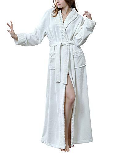 Bademantel Plüsch Kragen Damen Winter Fleece-Morgenmantel Nacht Roben Flanell Nachtwäsche Weiß XL ()