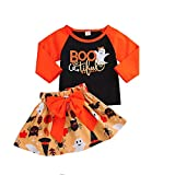 SuperSU Kleinkind Baby Jungen Mädchen Patchwork Tops Orange Kürbis Cartoon Rock Halloween Bowknot Sets Langarm Lange Ärmel Bodysuit Feiertagskostüm Cartoon Taufkleid