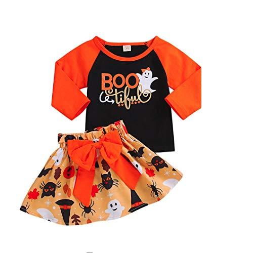 SuperSU Kleinkind Baby Jungen Mädchen Patchwork Tops Orange Kürbis Cartoon Rock Halloween Bowknot Sets Langarm Lange Ärmel Bodysuit Feiertagskostüm Cartoon Taufkleid