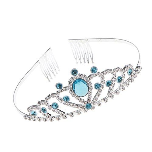 Braut Kristall Tiara Stirnband Braut Brautjungfern Kristall Diadem Strass Krone Tiara Stirnband für Hochzeitsfest Party - Blau