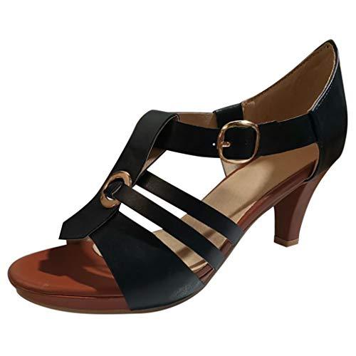 UEVOS Pumps Weinlese Alt T-Strap Bequeme Passform Stiletto in 5 Farben High Heels Schuhe Elegan Knöchel Schnalle Rom Frauen Sommer Open Toe Sandalen Gr.35-43 5 Stiletto Heels