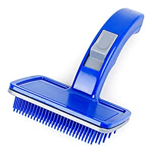PetVogue Professional Slicker Brush for Dogs and Cats Self-Cleaning Grooming Comb for Dematting Detangling & Deshedding