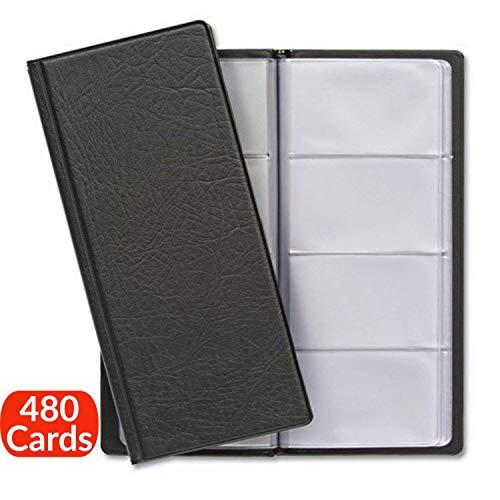 Visitenkartenmappe für 480 Karten | Visitenkarten Aufbewahrung | Platzsparend mit Übersichtliche Kartenhüllen | Visitenkartenbuch für Büro