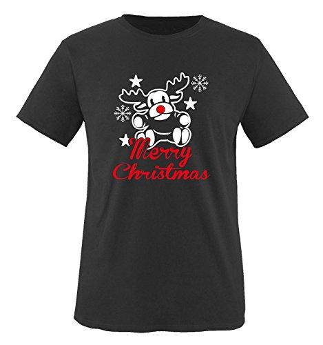 Christmas T Ideen Shirt (Merry Christmas Elch - Herren T-Shirt in Schwarz / Weiss-Rot Gr.)
