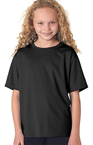 New Balance Girl's Pique Knit Flatback Self Fabric T-Shirt, Black, Small (Shirt Knit Pique)