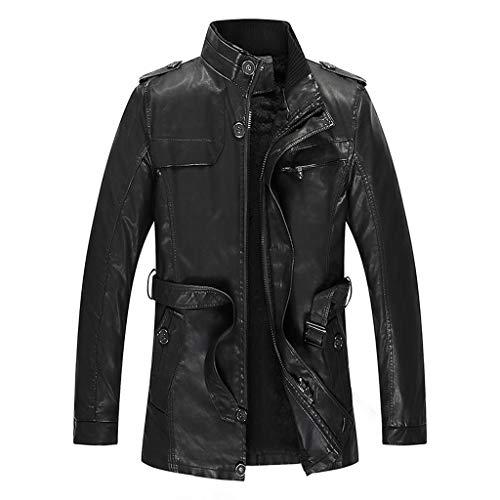 LSAltd Mode für Männer Vintage Reine Farbe Kunstleder Reißverschluss Mantel lässig Langarm warm halten Mantel Jacke