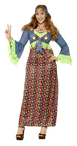 Smiffys 26532X3 - Fever Damen Hippie Kostüm, Größe: 56-58, mehrfarbig (X Herren Damen Kostüm)