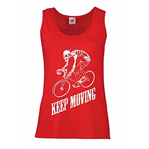 Sleeveless t shirts for women Motivational Quotes - The life is like riding a bicycle. To keep your balance, you must keep moving. (XX-Large Red Multi