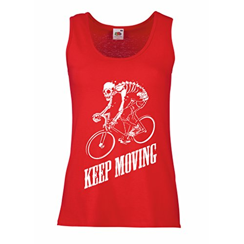 Damen Tank-Top Motivational Quotes - The life is like riding a bicycle. To keep your balance, you must keep moving. (XX-Large Rot Mehrfarben)