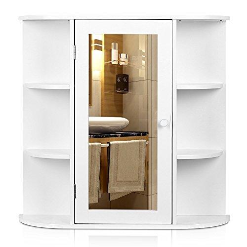 Homfa Badezimmer Hängeschrank Mehrzweck Küche Medizin Lagerung Organizer aus Holz mit Spiegel 1Tür Regalen, weiß Finish, MDF, weiß, Single Door -