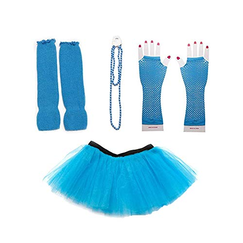 1980s Jahre Kostüm Kleid Zubehör Sets 80er Damen Mädchen Night Out Fancy Party Dress Neon Tutu Beinwärmer Fishnet Handschuhe Halsketten Blau