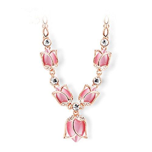 Co Tulip (Hamer Damen Tulip Anhänger Charm Crystal Choker Statement Halskette Halsband Schmuck - rose)
