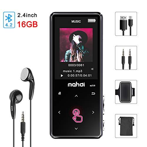 MP3 Player Bluetooth 4.2 16GB Digitaler HiFi Musik Player Audioplayer mit Kopfhörer Sport Armband 2,4 Zoll Touch Taste Farbbildschirm FM Radio Aufnahme Wecker Schlaf Timer Video Wiedergabe