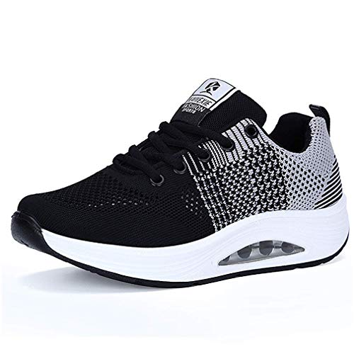 quality design f0fad 157ea Women s Air Sports Running Shoes Shock Wedge Lightweigh Platform Walking  Shoes Breathable Trainers Fitness Sneakers Black