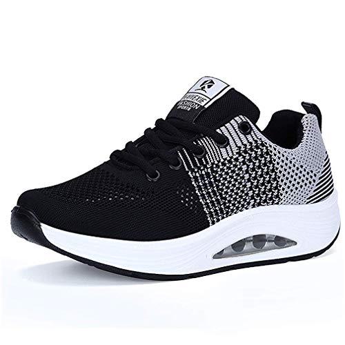 Damen Sneaker Bequeme Plateau Freizeitschuhe Frauen Fitness Sportschuhe Keilabsatz Mode Laufschuhe Leicht Turnschuhe Grau Schwarz 39.5 EU = CN 40
