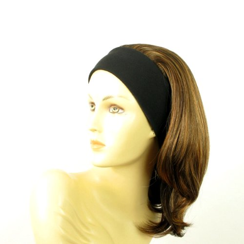 perruque femme bandeau mi-longue lisse chocolat méché cuivré clair ref: mady 627c