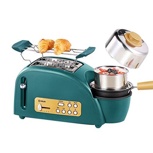 Toaster Haushalt Mini Multi-Funktions-automatische Fahrer Kochen gedünstet Ei Maschine Frühstück Maschine Elektrische Küchengeräte (Color : Green, Size : 38 * 15 * 16cm)
