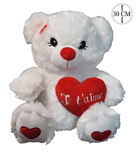 """Nounours en peluche blanc 32cm avec coeur brodé """"Je t'aime"""" rouge tout doux"""