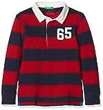 United Colors of Benetton Jungen Poloshirt L/S Polo Shirt, RED / BLUE - STRIPES, 100 (Herstellergröße: 3-4Y)