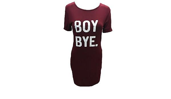 6cd502868d27 COMFYLOT LIMITED Womens Ladies Boy Bye Turn Up Sleeve Baggy Longline  Oversize Tunic T Shirt Dress (Wine, XLarge - UK 20-22): Amazon.co.uk:  Clothing