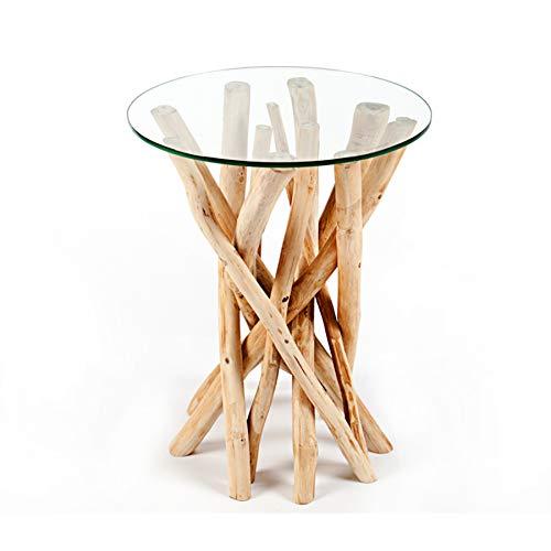 Glas Runde Sofa (Invicta Interior Design Teakholz Couchtisch Beistelltisch Driftwood mit Glasplatte rund Glastisch Wohnzimmertisch)