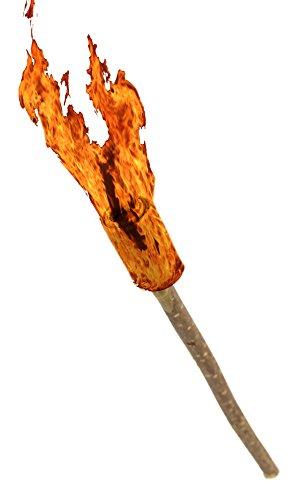 Preisvergleich Produktbild Echt-Holz Fackel ca. 40cm Kinder-Spielzeug Gartenfackel Brennzeit 45min Holz Natur Wachs-Fackel Feuer- Fackel Brenn-Stab Wachs-Fackel Leucht LARP