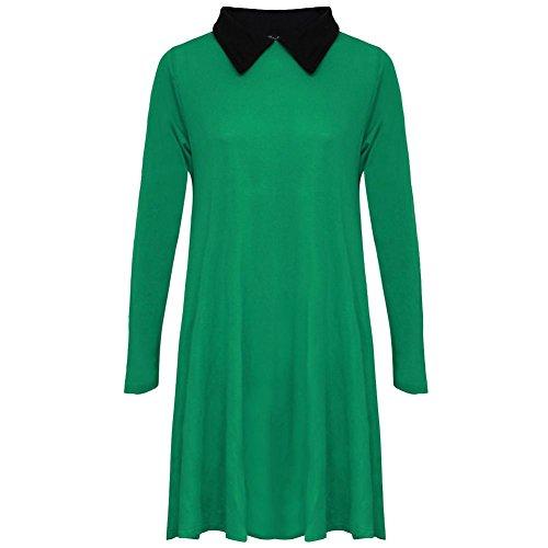 janisramone Nouveau femme extensible Robe évasée avec manches longues et col Peter Pan robe évasée simple Vert