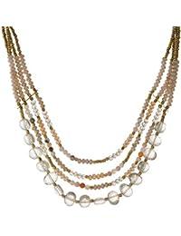 d4e2d151dbfc Tata Gisèle - Collar de fantasía de Metal Dorado – Cuatro Filas de Perlas  facetadas –