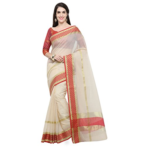Triveni Womens Poly Cotton Woven Everyday Wear Beige Colour saree with Blouse...