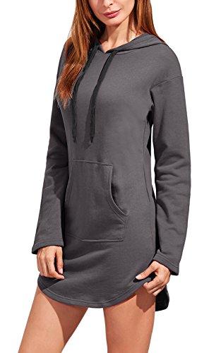 Perfectii Hood Long Damen Kapuzenpullover, Hoodie Long Sweatshirt mit  Fleece-Innenseite Longline Sweat- 557c3d9425