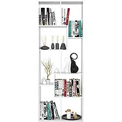 Homfa Bibliothèque en Bois Étagère de Rangement Design Salon Bureau 60x24x160cm (Blanc)