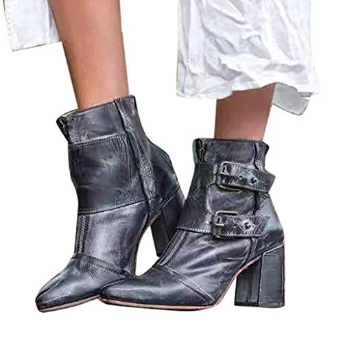 Iwähle)♥ Damen-Freizeitschuhe mit spitzer Zehenschnalle und dickem Absatz von Western Knight Booties (Blau, 37) -