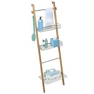 mdesign tag re de salle de bain en bambou montage sans per age organiseur d 39 accessoires de. Black Bedroom Furniture Sets. Home Design Ideas