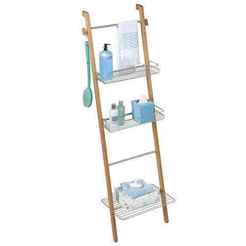 mDesign estantería escalera para ropa y toallas de baño - Estante madera con baldas de almacenamiento y toallero integrado - Color plateado / marrón