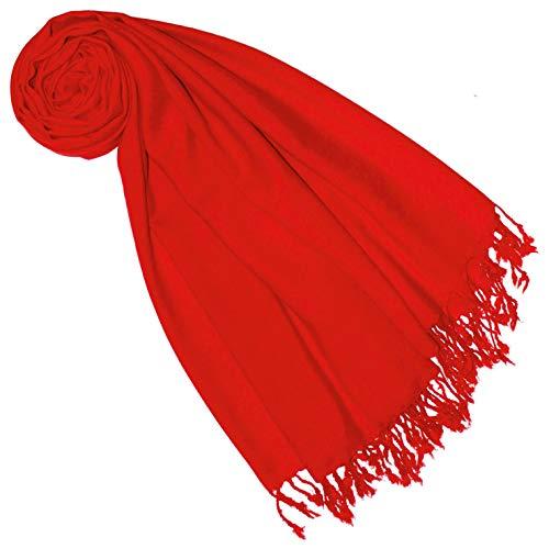 Lorenzo Cana Luxus Pashmina Damen Schal Schaltuch 50% Kaschmir 50% Wolle vom Merino Lamm Wolle Kaschmirschal Wollschal Damenschal Frauenschal rot 7838177