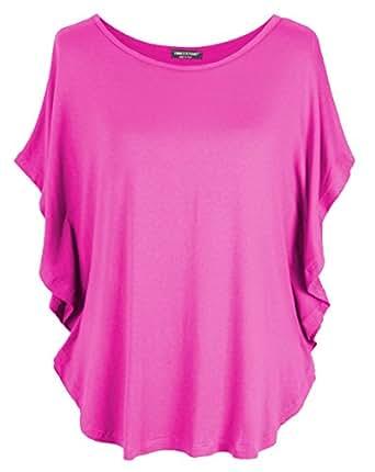 Emma & Giovanni - T-Shirt Style Chauve Souris - Femme (Fushia, 36/38/M)
