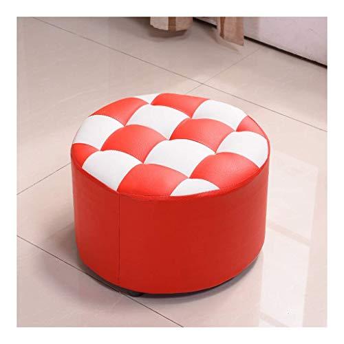 Ändern Seiner Schuhe hocker Hocker, Sofa Erwachsene Wohnzimmer Home Fashion Kreative Massivholz PU Leder Hocker Schuh Bank, Runde (Farbe: Rot) -