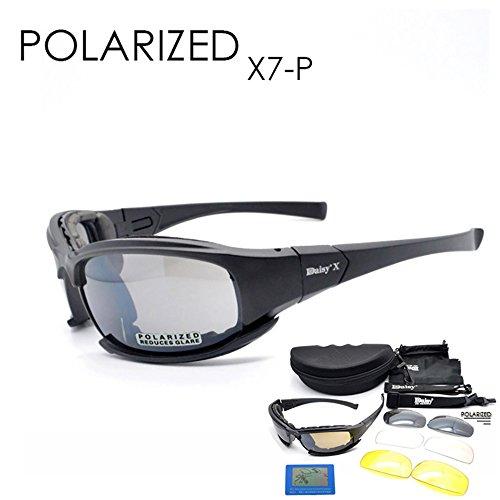 Taktischer Augenschutz 4LS Herren Militär X7Polarisierte Sonnenbrille, kugelsicher, Airsoft-Brille, Motorradbrille, Radfahrbrille, POLARIZED MODEL