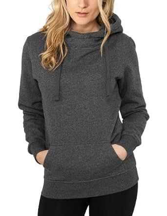 Urban Classics Damen Sweatshirt Bekleidung Ladies Melange Hoody schwarz (Black) X-Small