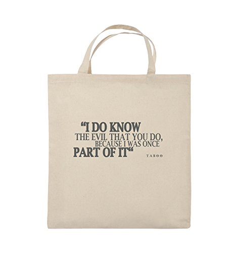 Comedy Bags - I DO KNOW THE EVIL - TABOO - Jutebeutel - kurze Henkel - 38x42cm - Farbe: Schwarz / Silber Natural / Grau