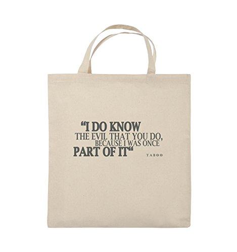 Comedy Bags - I DO KNOW THE EVIL - TABOO - Jutebeutel - kurze Henkel - 38x42cm - Farbe: Schwarz / Silber Natural / Grau
