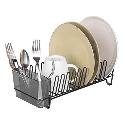 mDesign égouttoir vaisselle en inox - bac à vaisselle en plastique - étendoir pour vaisselle avec bac pour couverts - rangement et séchage de jusqu'à 15 assiettes - 31,8 cm x 14,0 cm x 10,2 cm
