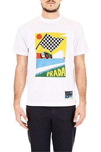 Prada Herren Ujn3991qgbf0009 Weiss Baumwolle T-Shirt (Prada Herren Shirt)